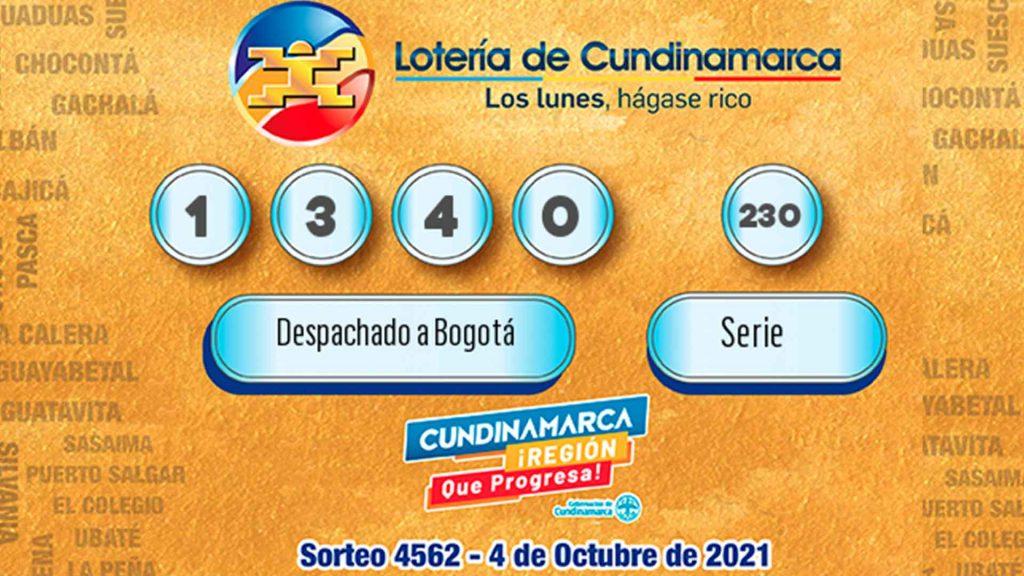 Imagen con los resultados de la lotería de Cundinamarca del 4 de octubre.