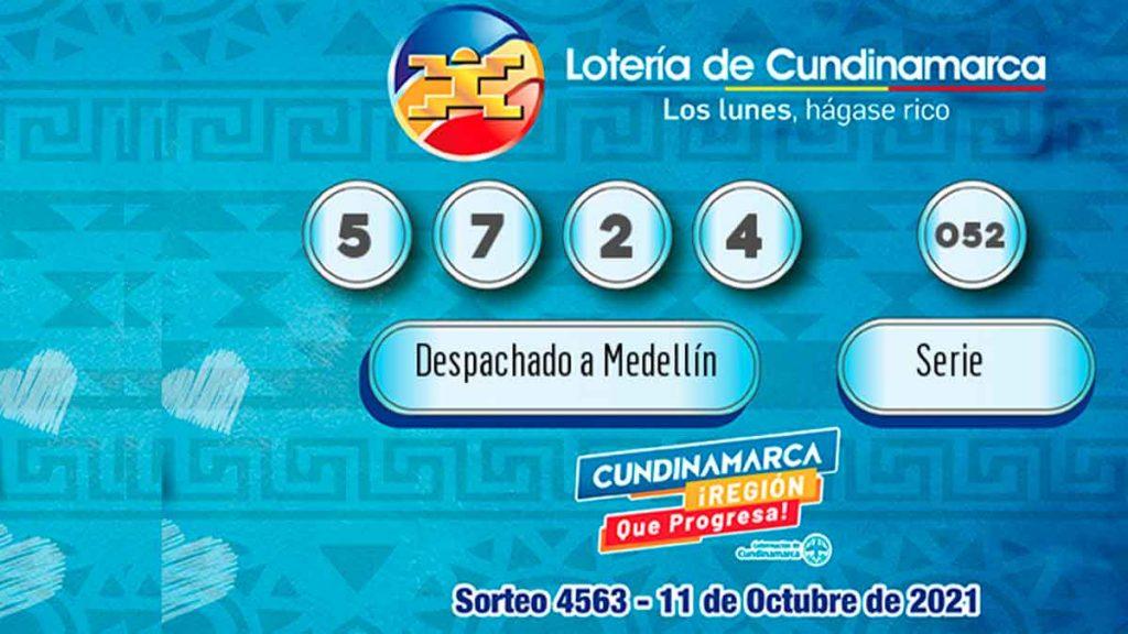Imagen con los resultados de la lotería de Cundinamarca del sorteo del 11 de octubre.